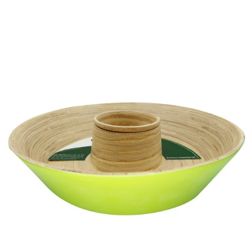 Core Bamboo LCD-LIM114M 13-Inch Matte Finish Bamboo Chip & Dip Set - Lime