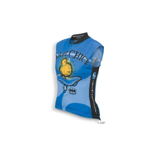 Image of World Jerseys Biker Chick Sleeveless Blue Jersey Large (B002P0WCLS)