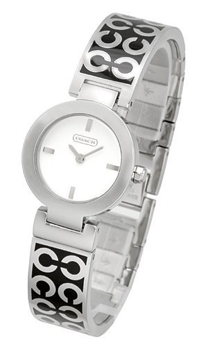 Coach Mercer Breath Bangle Watch 14501359 Logo Etching Silver on Black Stunning