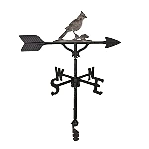 Montague Metal Products 32-Inch Weathervane with Swedish Iron Cardinal Ornament
