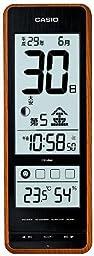 With Casio temperature and hygrometer living environment inform Roku-jdisplay Himekuri radio clock IDL-400NJ-5JF tea woodgrain IDL-400NJ-5JF