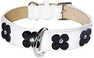 Flower Rivet Tapered Dog Collar, Extra Large Size 17-22, White with Black Flowers