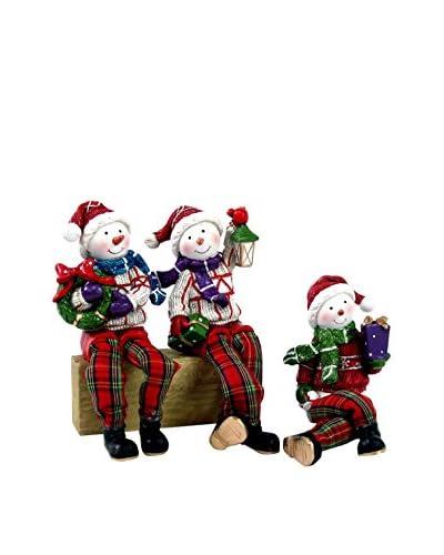 Set Figura Decorativa 3 Uds. Muñeco De Nieve Piernas Largas