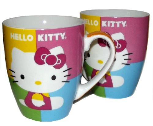 Paperproducts Design 28044 Gift Box Porcelain Mugs, 14-Ounce, Hello Kitty Pop Kitty, Set Of 2