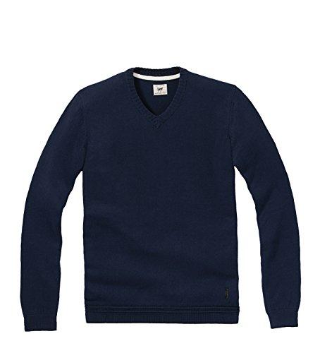 Lee - V-Neck Knit, Felpa Uomo, Navy, Large ( Large)