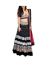 V-Art Women's Net Lehenga Saree (Black)