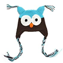 LOCOMO Baby Knit Beanie Crochet Hoot Owl Hat Cap Ear Flap Blue Brown FBA003BLU