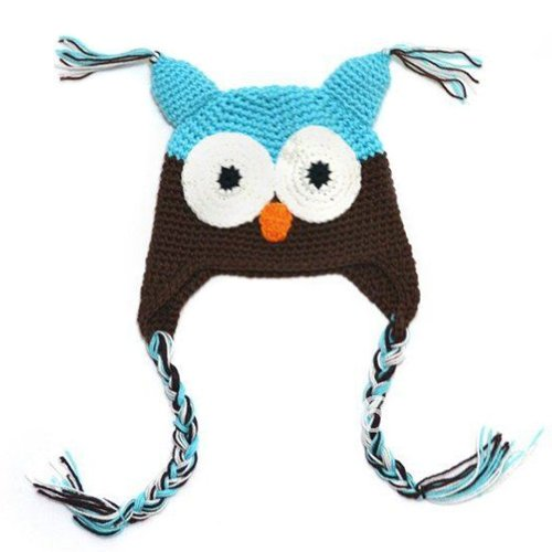 Locomo Baby Knit Beanie Crochet Hoot Owl Hat Cap Ear Flap Blue Brown Fba003Blu front-724779