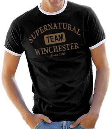 Touchlines - T-Shirt Supernatural Team Wincester, taglie dalla S alla XXL Colore: vari;, nero (Nero/Oro), M