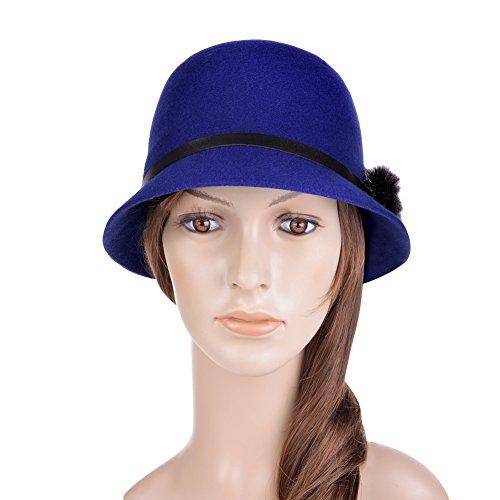 Vbiger Women Woolen Fedora Bowler Hat (Blue) (Bowler Hat Blue compare prices)