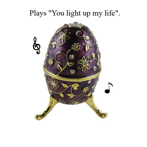 "Egg Music Jewelry Box Purple Floral Bejeweled Faberge Style 3.75""H"