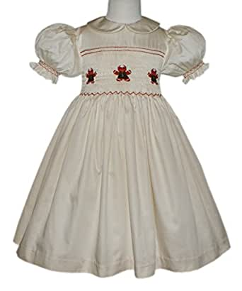 Baby girls christmas smocked gingerbread cookie dress 3m clothing