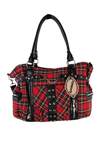 Banned Alternative Apparel Red Tartan Plaid Punk Purse with Handcuff Skull Charm