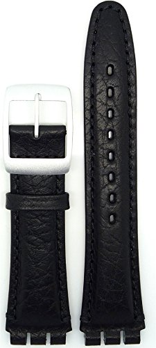 New Condor 19mm (22mm) Sized Genuine Leather Strap Compatible for Swatch® Watch - Black - Chrome Buckle - SC14_01