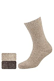 2 Pairs of Moss Stitched Socks with Wool