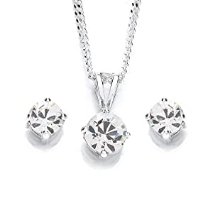 MiChic Jewellery Silver Swarovski Crystal Birthstone Pendant and Earring Set with 46 cm Chain, April