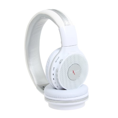 Outdoor Light Weight Over Ears Binaural Headphones Headsets Soft Leather Ear Cap Circumaural Over-Ear Hifi Stereo Earphone Binaural Headphone Audio 3.5Mm For Pc Pad Mp3 Mp4 Computer Support Sd Card & Fm Elegant White With Silver Color