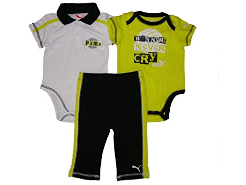 Puma Baby Boys 3Pc Bodysuit And Pant Set, Lime Green, 6-9 Mos front-951868