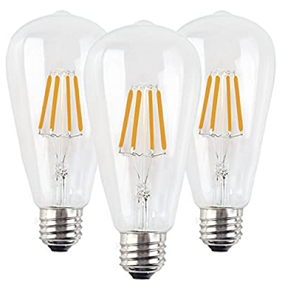 Santaro Dimmable ST64 4W/6W/8W 2700K Vintage Classical LED Filament Light Bulb 3 Pack- Warm White E26 110V 90Ra Edison Style- Replace 30W/40W/60W Incandescent Light Bulb ...
