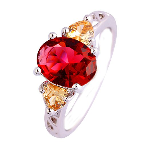 Empsoul 925 Sterling Silver Natural Chic Filled 2ct Ruby Spinel & Morganite Gemstone Gemstone Engagement Wedding Ring (My Mystic Gems compare prices)