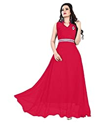 Vadaliya Enterprise Women's Velvet + Net Red Gown