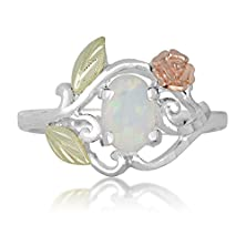 buy Opal Rose Flower Ring Made Of Sterling Silver With 7 X 5 Mm Oval Shaped Opal Stone And 12K Gold Flower Accent - Ring Size 10