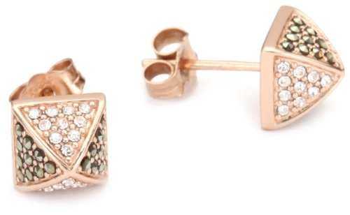 JUDITH JACK Marcasite, Crystal and 14k Rose-Gold Plated Stud Earrings