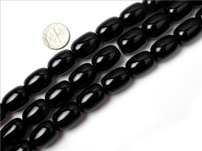 13x18mm column Gemstone black agate beads Strand 15