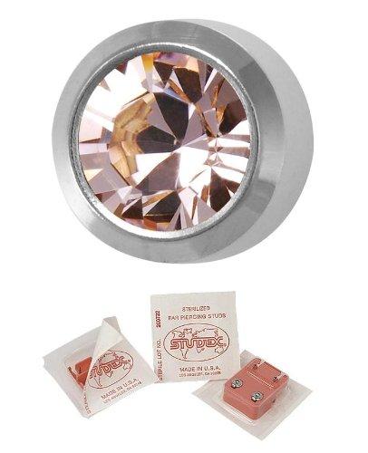 Studex Ear Piercing Large Silver Coloured Stainless Steel Birthstone Stud Earrings 5mm Bezel Setting - June / Alexandrite