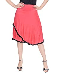 Soundarya Women's Cotton Knee Length Skirts (FL9, Peachpuff)