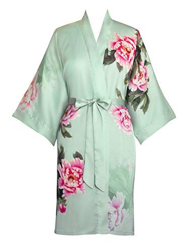 Women's Kimono Robe - Printed peony & bird