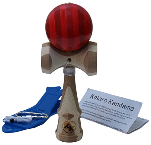 Kotaro Pro Bamboo Kendama Toy with Red Ball with Extra String and Holster (Kendama Extra Ball compare prices)