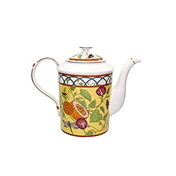 Royal Porcelain 15-Piece Antique Citrus Yellow Vintage Dining Tea Cup Set, Service for 6, Handmade & Hand-Painted, HQ Bone China