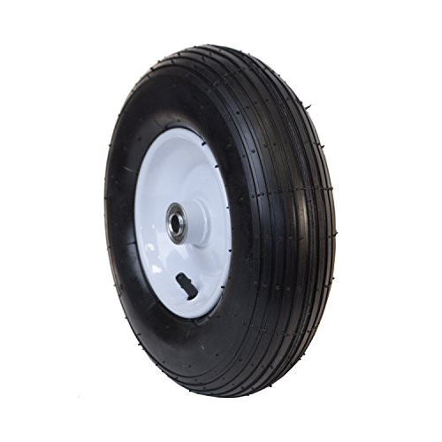 ALEKO® WAP13 Smooth Pneumatic Replacement Wheel for Wheelbarrow 13 Inch Air FIlled Turf Tire for Hand Trucks and Lawn Carts, Black Tire White Rim