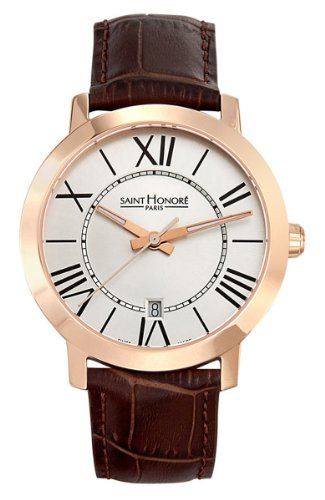 Saint Honore Men's 861020 8AR Trocadero Paris Rose Gold PVD Brown Genuine Leather Date Watch
