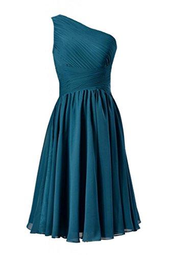 Daisyformals One-Shoulder Knee Length Bridal Party Formal Dress(Bm351)- Peacock Teal
