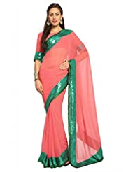 Designersareez Women Faux Georgette Embroidered Salmon Pink Saree With Unstitched Blouse(1498)