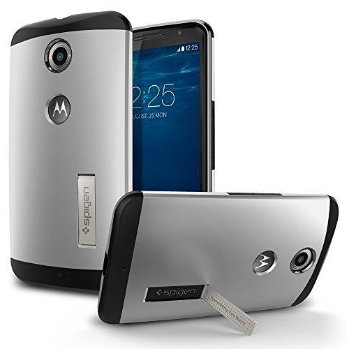Nexus6 ケース, Spigen® [ スリム+保護力+個性 +スタンド機能 ] Nexus 6 Case スリム アーマー Google Nexus 6 (2014) (国内正規品) (サテン・シルバー 【SGP11238】)