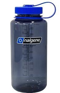 Nalgene Tritan Wide Mouth BPA-Free Water Bottle, 1-Quart, Gray with Blue Lid