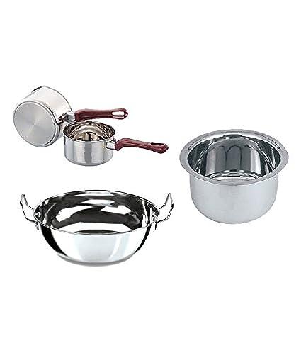 Anupam Sandwich Bottom Induction Base Cookware Set (1.5 L, 3 Pcs)