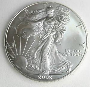 2002 US 999 SILVER EAGLE OUNCE OZ $1 DOLLAR COIN BU