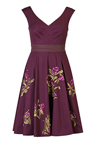 Eshakti Women'S Floral Embellished Poplin Dress 5X-34W Regular Eggplant