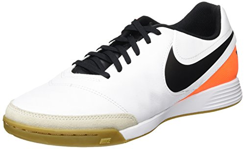 Nike Uomo Tiempox Genio II Leather IC scarpe da calcio, Bianco (Blanco (White / Black-Total Orange)), 42.5 EU