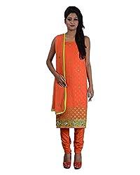 Mumtaz Sons Women's Cotton Unstitched Dress Material (MS111423C,Orange)