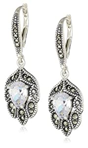"Judith Jack ""Holiday Glamour"" Sterling Silver, Marcasite and Cubic Zirconia Vintage Drop Earrings"