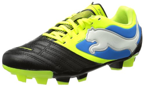 Puma Unisex-Child PowerCat 3 FG Jr Football Shoes Black Schwarz (black-fluo yellow-white-brilliant blue 04) Size: 38/5 UK