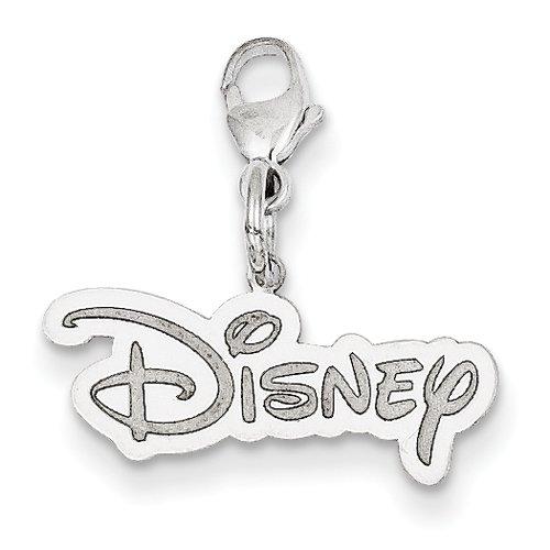 Disney Logo Pendant In 14Kt White Gold - Unisex Adult - Dazzling - Glossy Polish