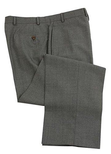 Ralph Lauren Men'S Flat Front Solid Medium Gray Wool Dress Pants - 44 X 34