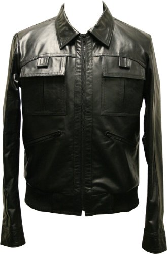 ZEBRA THREE - Mens Black Retro Leather Jacket - L / 42