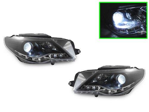 09-11 Vw Passat Cc R8 Led Strip Drl Black Projector Xenon Hid Headlights